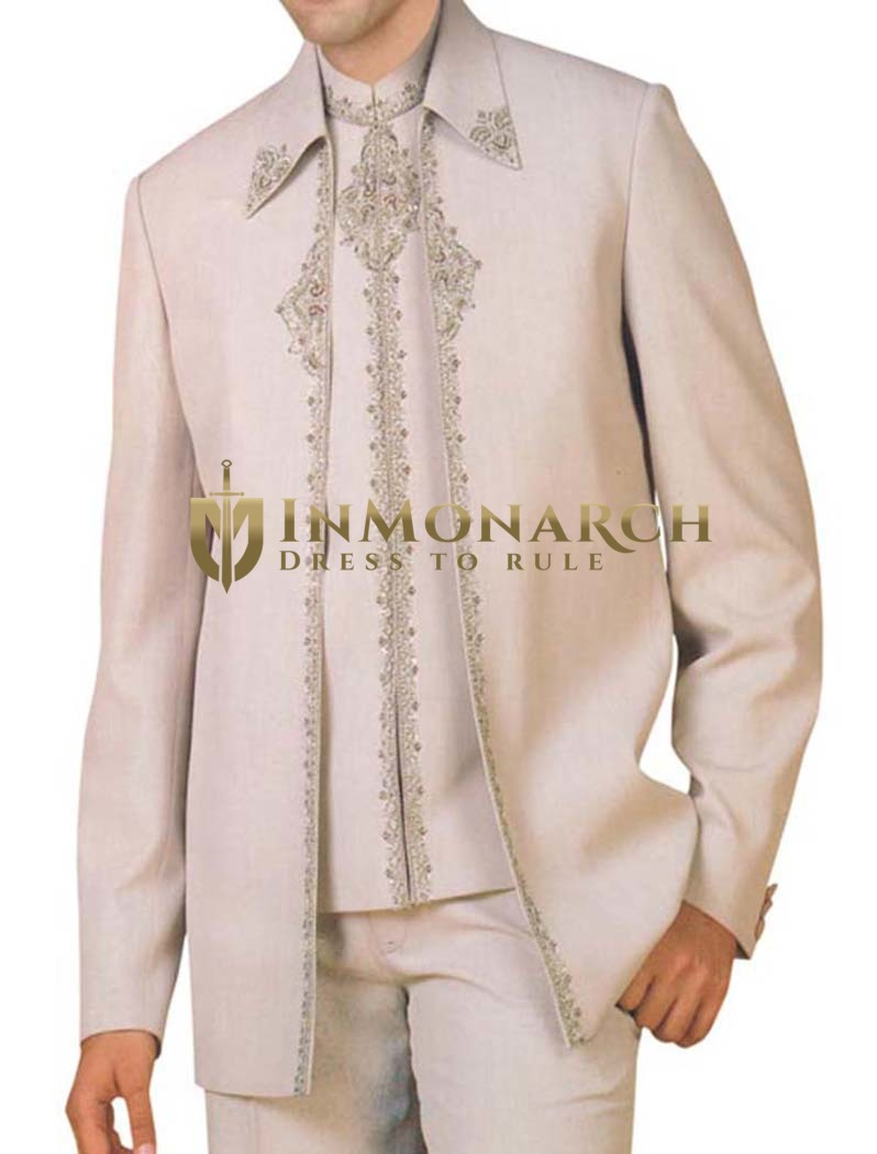 Mens Almond 3 pc Partywear Suit Fashionable Indian Wedding