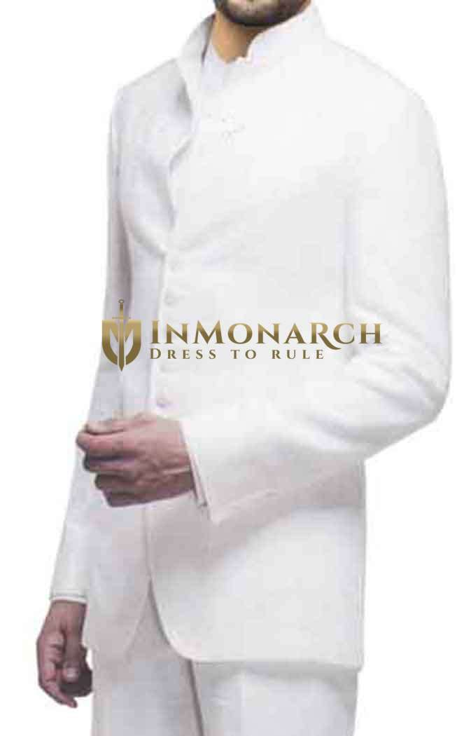 Mens White Nehru Suit 2 Pc Designer Front Open 7 Button
