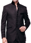 Mens Grey Nehru Collar Front Open Suit 2 Pc