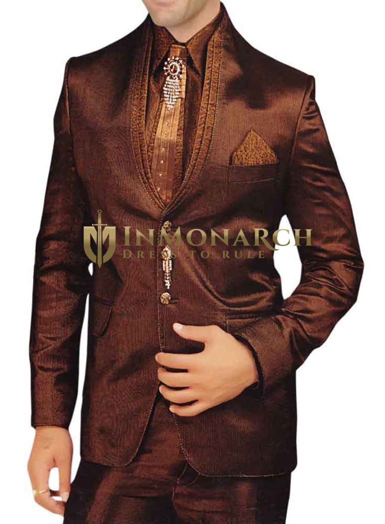 Mens Copper Polyester 7 Pc Tuxedo Suit Wedding