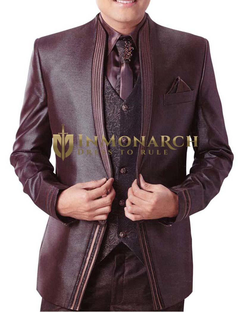 Mens Brown 7 pc Tuxedo Suit Two Button