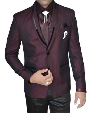 Mens Wine Polyester Tuxedo Suit 2 Button 7 Pc
