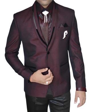 Mens Wine Polyester Tuxedo Suit 2 Button 7 Pc