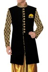 Mens Indian Wedding Sherwani Clothes Black Indowestern Sherwani