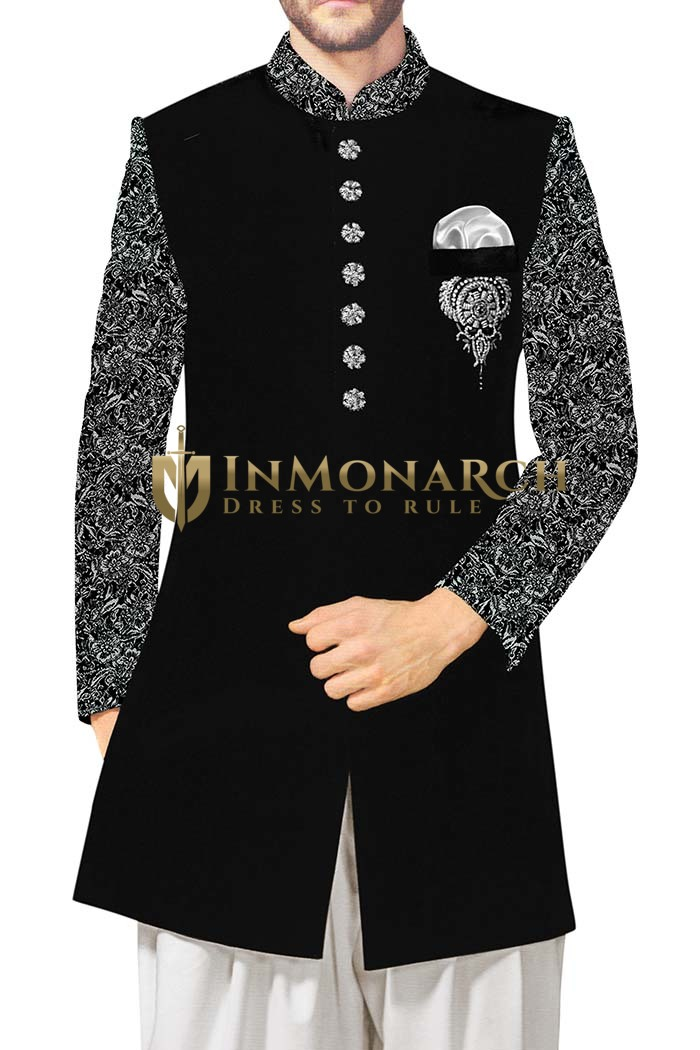 Mens Black Sherwani Indowestern Sleeves Sherwani for Men Wedding