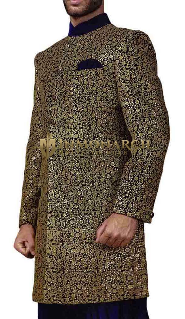 Indian Sherwani for Men Golden Blue Indowestern Machine Embroidered