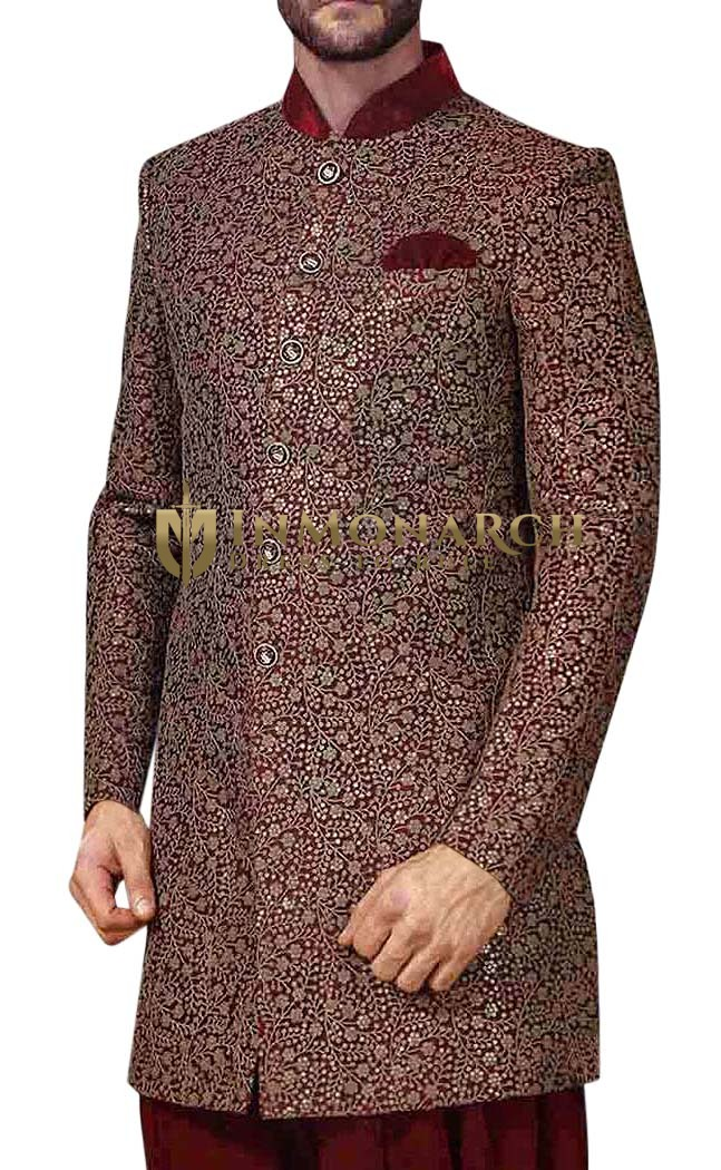 Mens Maroon Indowestern Engagement 3 Pc 6 Button