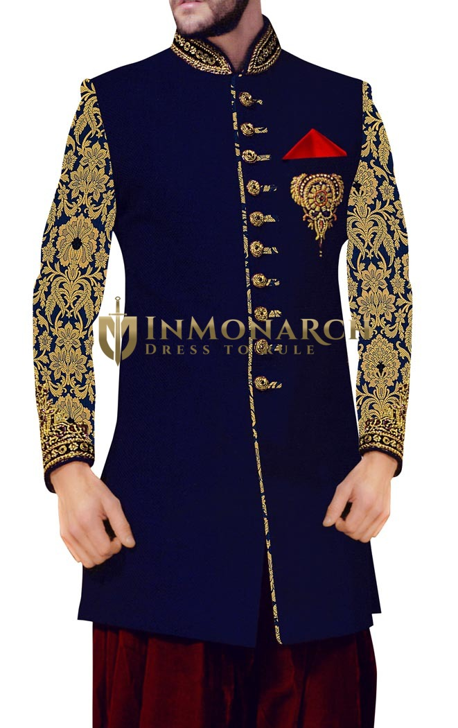 Sherwani for Men Blue Indowestern Party Wear Wedding Sherwani