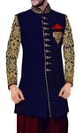 Mens Blue Indowestern Party Wear 3 Pc 10 Button