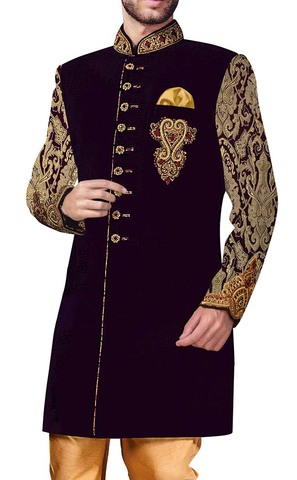 Mens Blue Indowestern Embroidered 3 Pc 9 Button