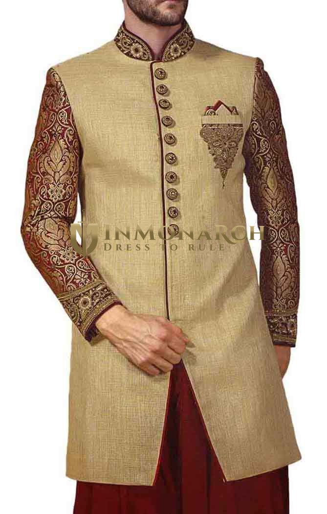 Mens Beige 3 Pc Indowestern 10 Button Embroidered