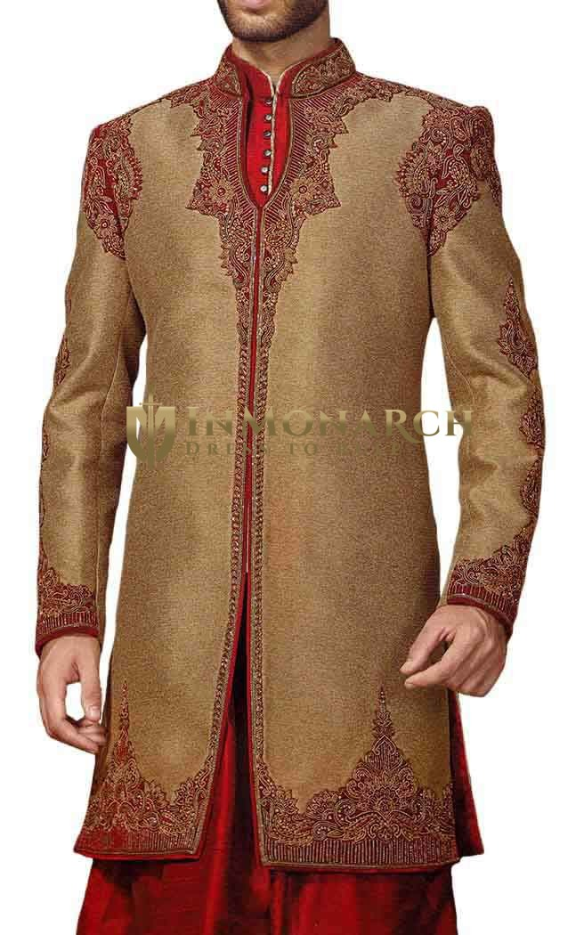 Mens Beige Indowestern Sherwani kurta Concealed Button Wedding Sherwani