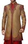 Mens Beige 2 Pc Indowestern Fancy Concealed Button