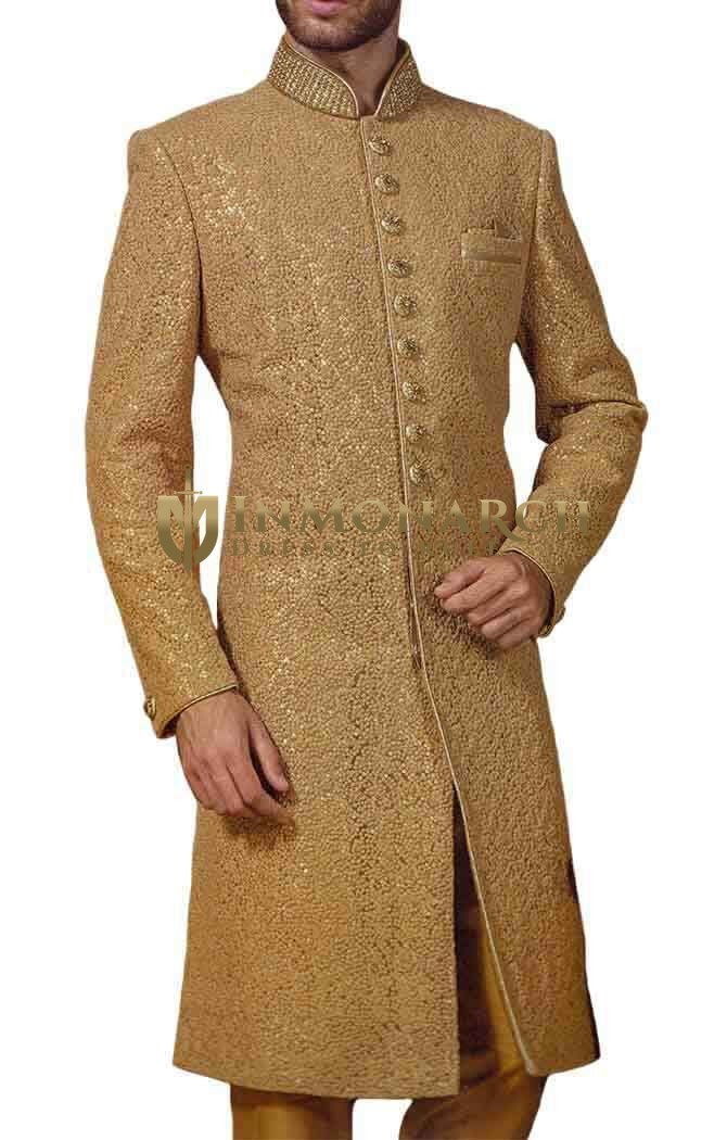 Mens Beige Embroidered Fabric Indowestern 3 Pc 9 Button