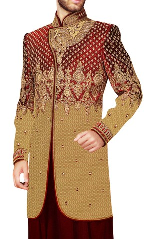 Sherwani Beige Indowestern Indian Wedding for Men Concealed Button