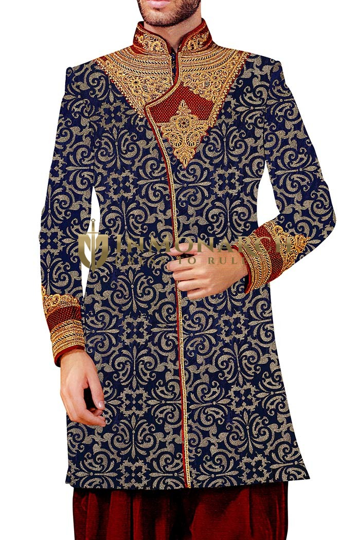Mens Blue Indowestern 2 Pc Concealed Button