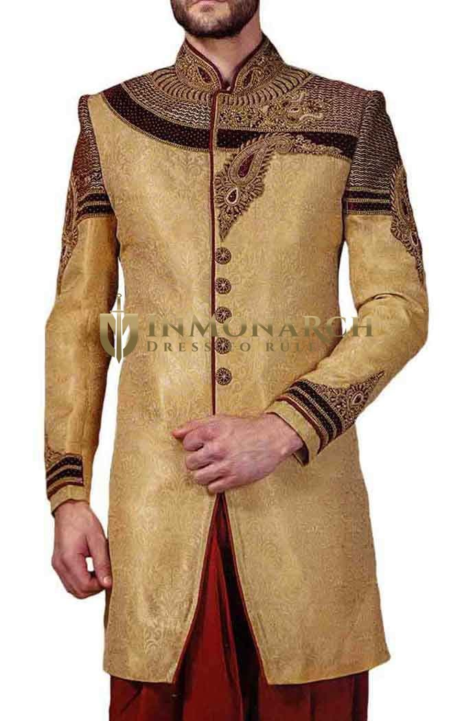 Mens Beige Indowestern Hand Work Indian Wedding Clothes for Men