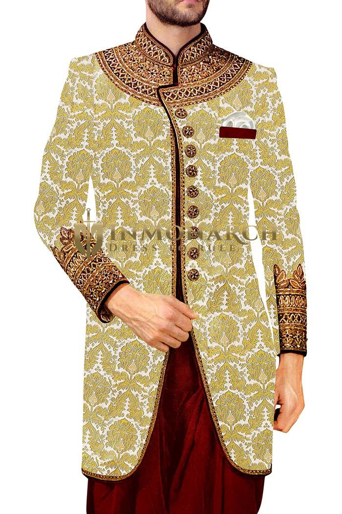 Mens kurta for jeans Cream Indowestern Embroidered 9 Button Sherwani
