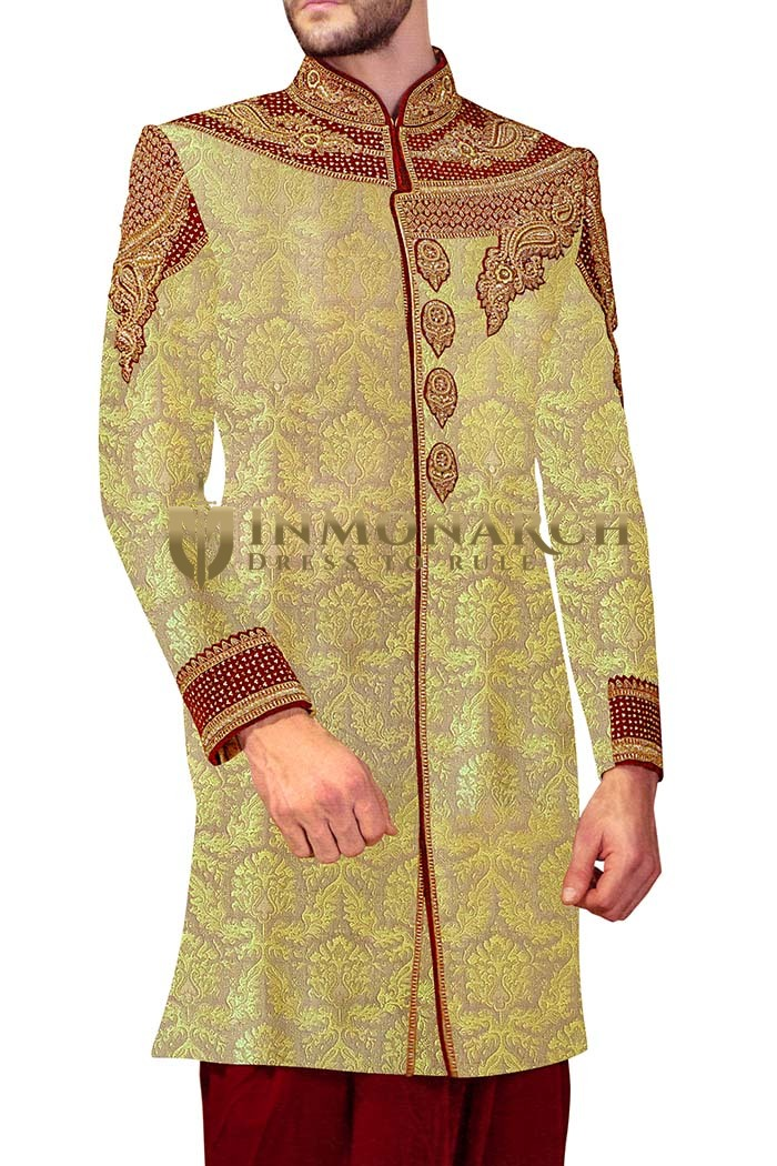 Mens Sherwani kurta Beige Indowestern Sherwani Concealed Button Embroidered