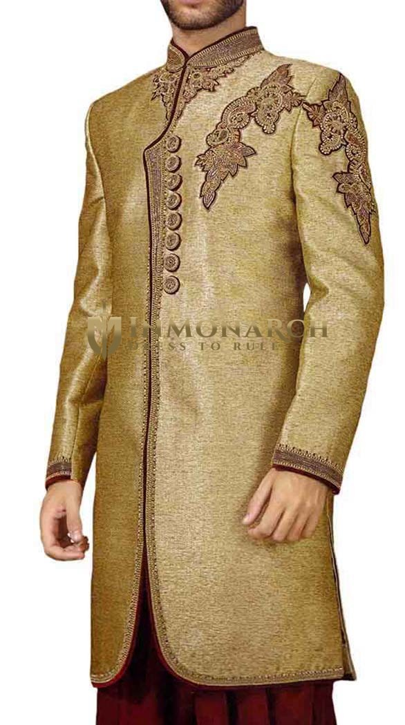 Mens Golden Indowestern Designer 2 Pc 8 Button