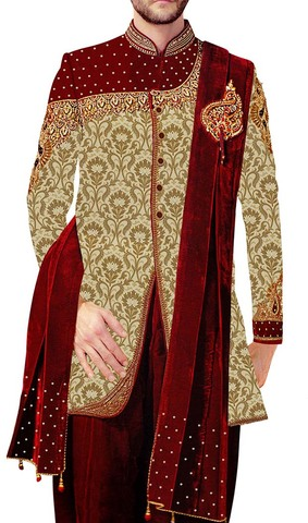 Mens Golden Indowestern Royal Look 3 Pc 5 Button