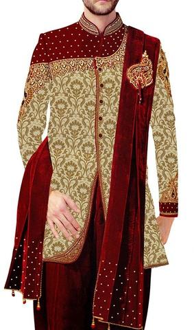 Mens Sherwani Golden Indowestern Royal Look Indian Wedding Clothes