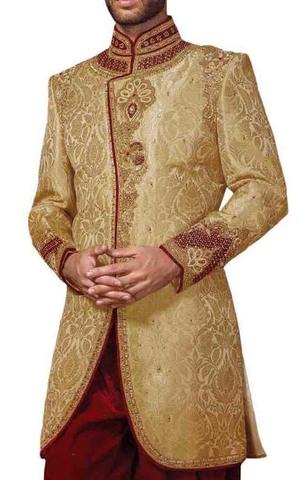 Mens Beige Indowestern Wedding 2 Pc Concealed Button
