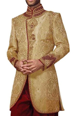 Mens Beige Indowestern Wedding 2 Pc Concealed Button