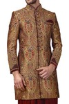 Mens Tan Color Indowestern Prince Look 3 Pc 10 Button