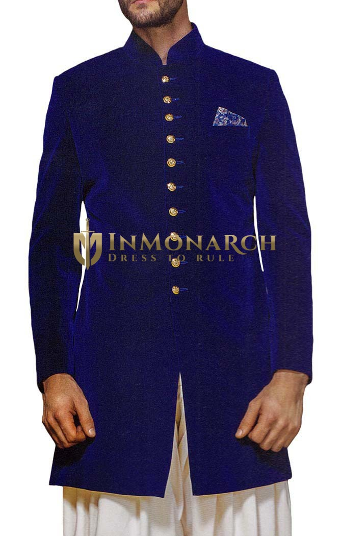 Mens Blue Velvet 3 Pc Indowestern 10 Button