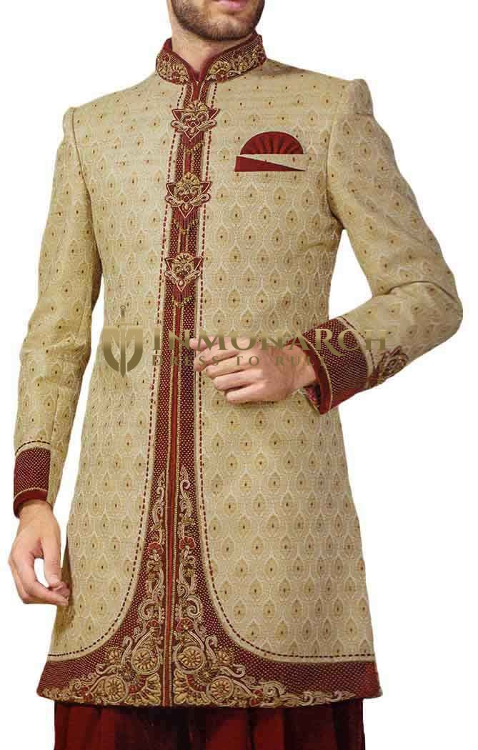 Mens Beige 3 Pc Indowestern Concealed Button Embroidered