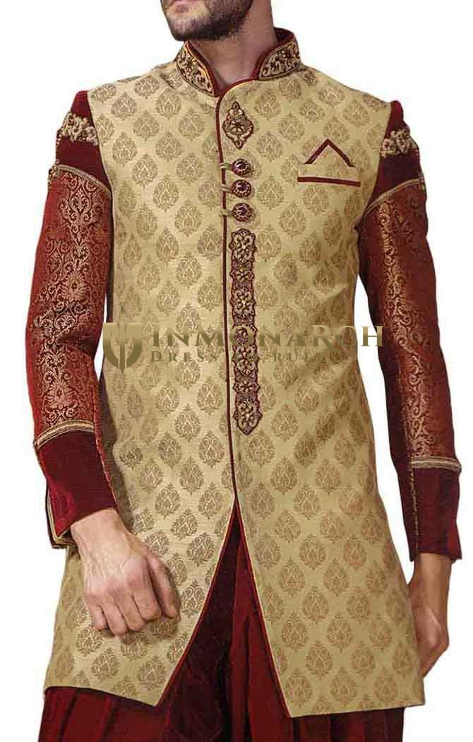 Indian Wedding for Men Beige Brocade Indowestern Sherwani