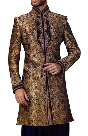Sherwani for Men Wedding Beige Indowestern Groom Sherwani Embroidered