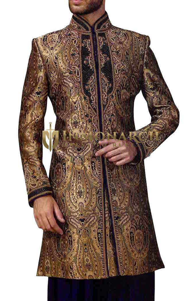 Mens Beige 2 Pc Indowestern Sherwani Embroidered