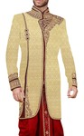Mens Beige Indowestern Suit Embroidered 2 Pc