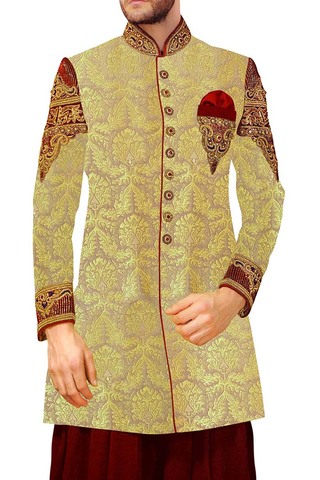 Indian Wedding Clothes for Men Beige Indowestern Suit Unique Sherwani