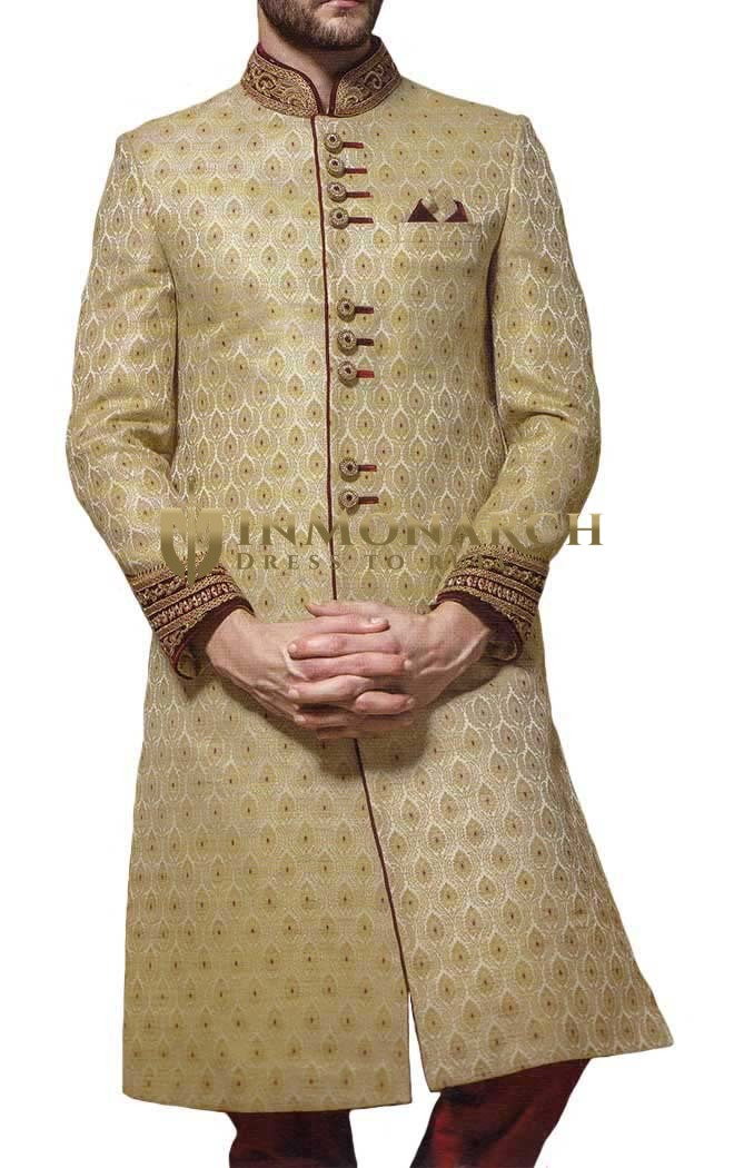 Sherwani for Men Beige Indowestern Suit Bridegroom Wedding Sherwani