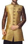 Mens Golden Jute 3 Pc Indowestern 7 Button