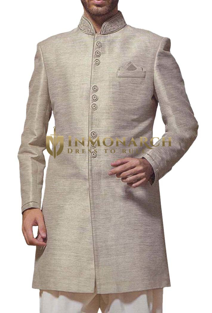 Mens Wedding Sherwani Silver Jute Indowestern Indian Sherwani