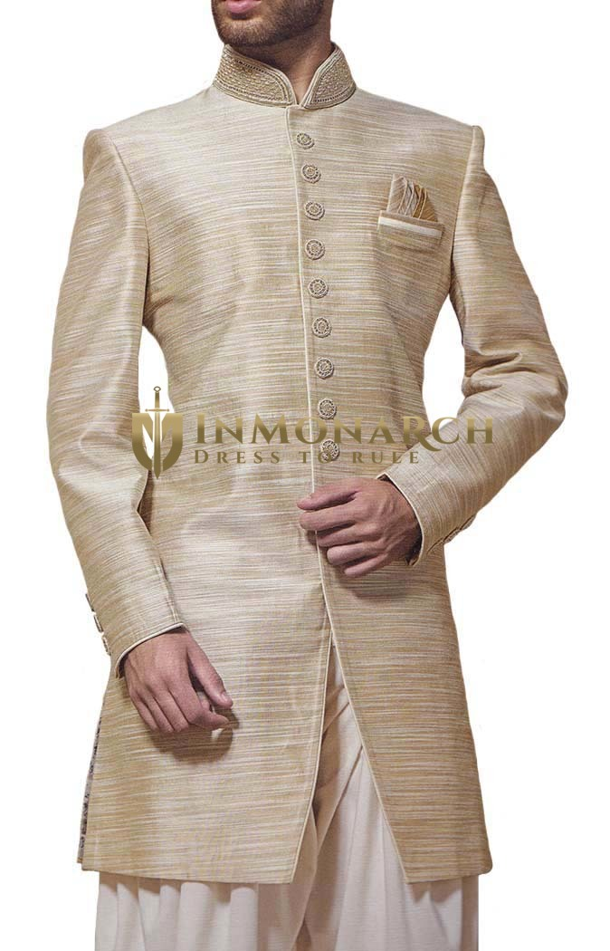 Mens Beige 3 Pc Indowestern 9 Button Reception