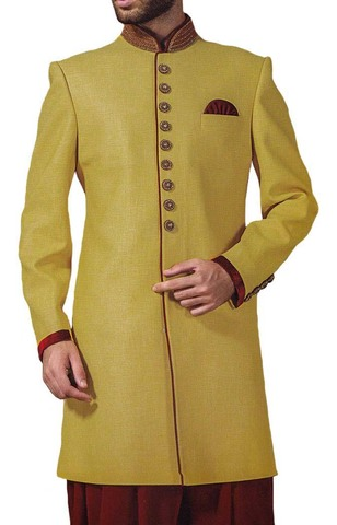 Indian Wedding for Men Yellow Polyester Indowestern Sherwani
