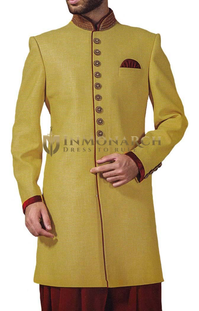Mens Yellow Polyester 3 Pc Indowestern 9 Button