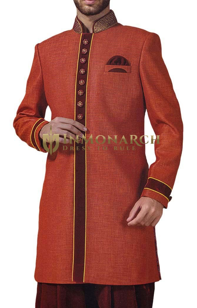 Mens Red 3 Pc Indowestern 10 Button Yellow Piping