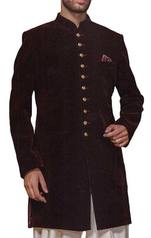 Sherwani for Men Wedding Brown Indowestern Simple Look Sherwani