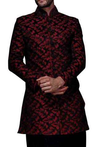 Mens Sherwani kurta Maroon and Black Indowestern Wedding Sherwani