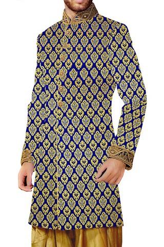 Indian Wedding for Men Royal Blue Indowestern Suit Designer Sherwani