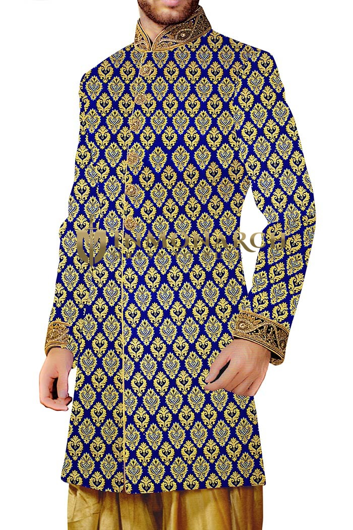 Mens Royal Blue 2 Pc Indowestern Suit Designer