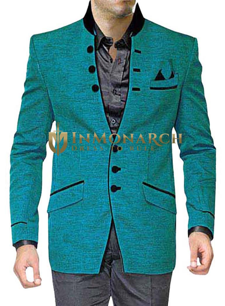Mens Teal 4 Pc Partywear Jodhpuri Suit