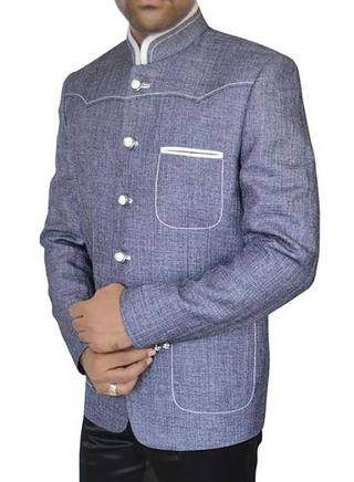 Mens Steel blue 2 Pc Jodhpuri Suit for Reception