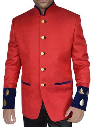 Mens Red Jute 2 Pc Jodhpuri Suit Patch Work